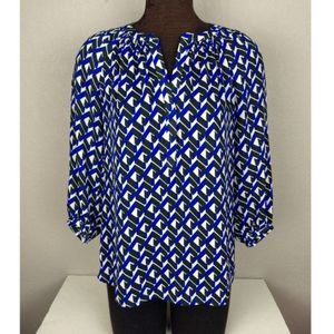 Banana Republic Geo Print Top Blue/Black/White Sm.